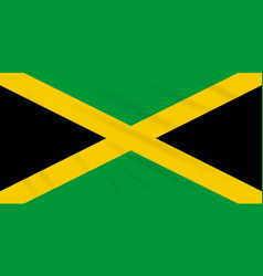 Flag jamaica swaying in wind realistic vector