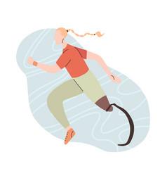 flat girl runner with prosthetic vector image