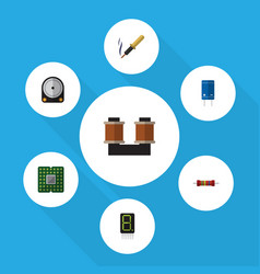 Flat icon technology set of unit repair display vector