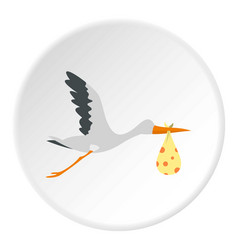 Flying stork with a bundle icon circle vector