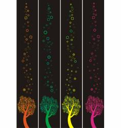 four banners with abstract trees vector image