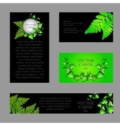 Four cards with the texture of green fern vector