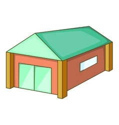 Garage with a green roof icon cartoon style vector image