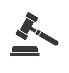 Hammer and gavel solid judge related icon vector