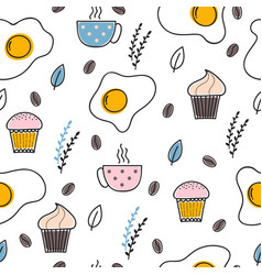 hand drawn seamless pattern with fried eggs vector image