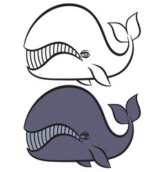 Hand drawn whale vector
