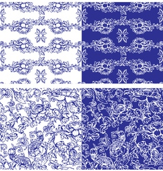 Handdrawn flower blue seamless 1 380 vector