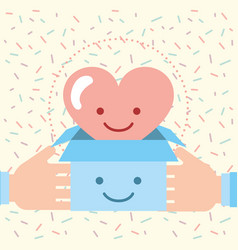 Hands holding box with love heart charity donation vector