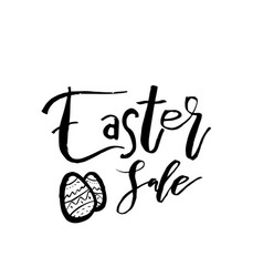 Happy easter card with calligraphy text template vector