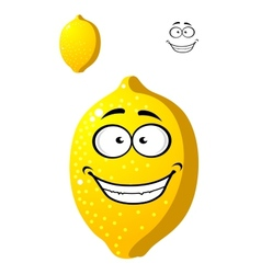 Happy smiling yellow cartoon lemon fruit vector image
