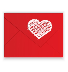 Heart white crayon on red envelope vector image