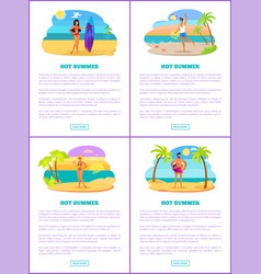 hot summer in tropical country promotional banners vector image