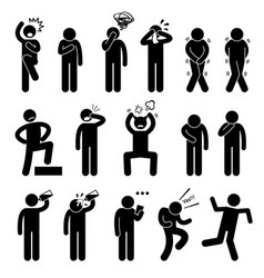 Human action poses postures stick figure vector