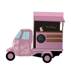 ice cream car pink vector image