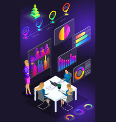 isometric view of smartphone screenbusiness train vector image