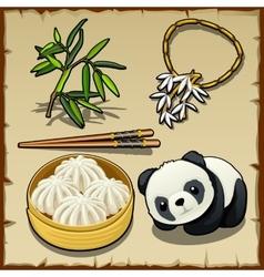 Japanese theme set food animal and jewellery vector