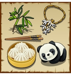 Japanese theme set of food animal and jewellery vector image