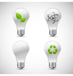 Lightbulb Eco Science Icons Set vector image