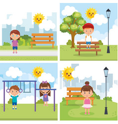little kids group playing on the park vector image