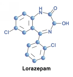 Lorazepam is a benzodiazepine medication vector image
