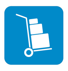 luggage trolley flat icon vector image