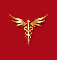 medical caduceus symbol in golden color gold sign vector image