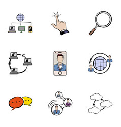 messaging icons set cartoon style vector image