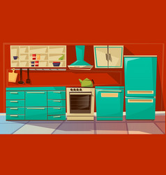 Modern kitchen interior background cartoon vector