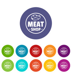 modern meat shop icons set color vector image