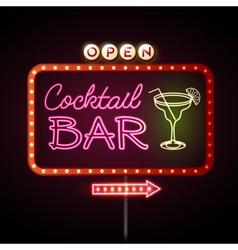 Neon sign Cocktail bar vector