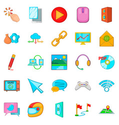 online game icons set cartoon style vector image