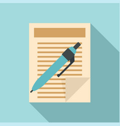 pen paper document icon flat style vector image