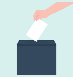 People puts a letter document in a ballot box or vector
