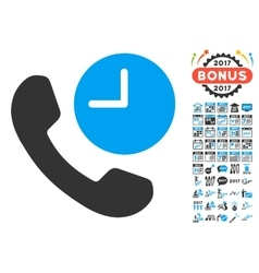 Phone Time Icon With 2017 Year Bonus Symbols vector