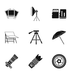 Photographing icons set simple style vector