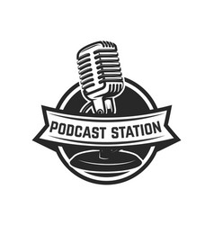 Podcast station emblem template with retro vector
