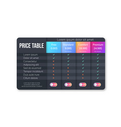 Pricing plans for websites and applications dark vector