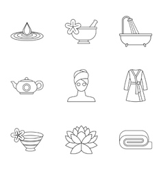 Relaxation icons set outline style vector