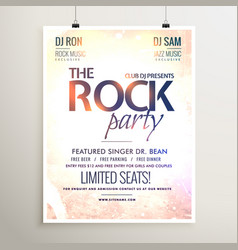 rock party music flyer template with textured vector image