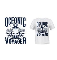 sail ship anchor t-shirt print vector image