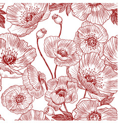 seamless pattern california poppy flowers drawn vector image