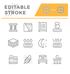 Set line icons orthopedic mattress vector