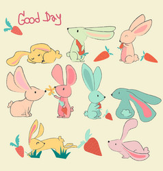 set of doodle pastel cute rabbits character vector image