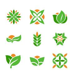 set of green logos template creative natural and vector image