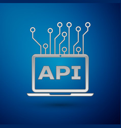 Silver computer api interface icon isolated on vector