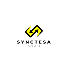 Simple sync connection s arrow logo design vector