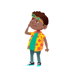 Smiling african boy infant looking at monument vector
