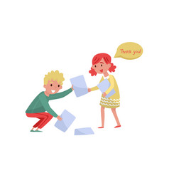 Smiling boy helping girl to picking up paper from vector