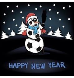 Snowman of soccer balls vector