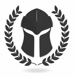 Spartan helmet silhouette with laurel wreath vector